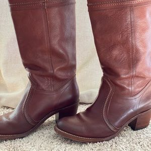 FRYE Cognac brown leather tall boots
